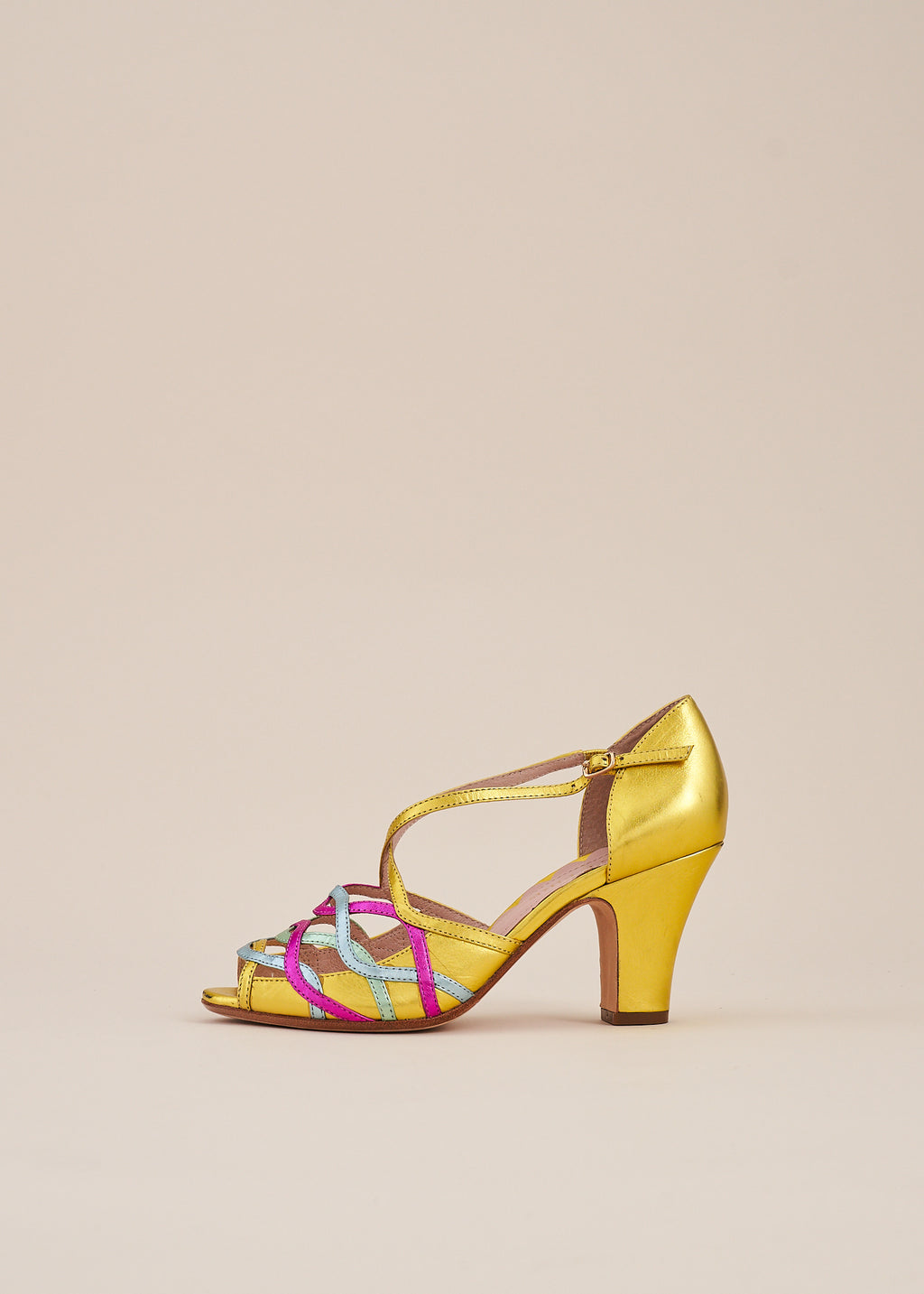 Adele Gold Multi Metallic Leather Strappy Heeled Sandal
