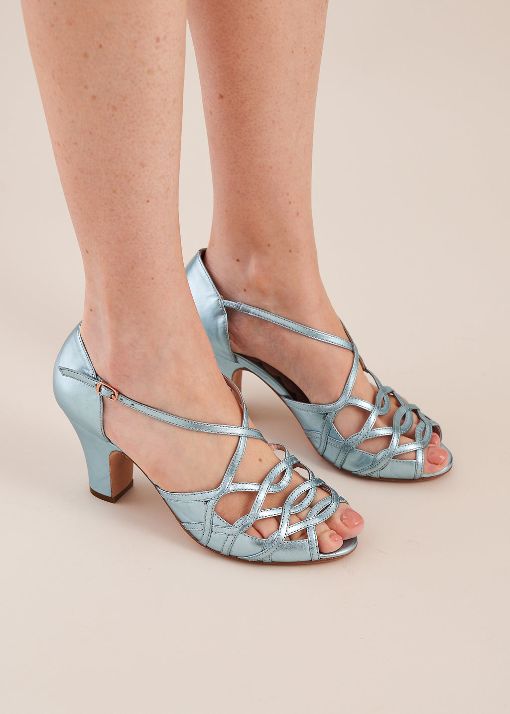 Adele Sky Blue Metallic Leather Strappy Heeled Sandal