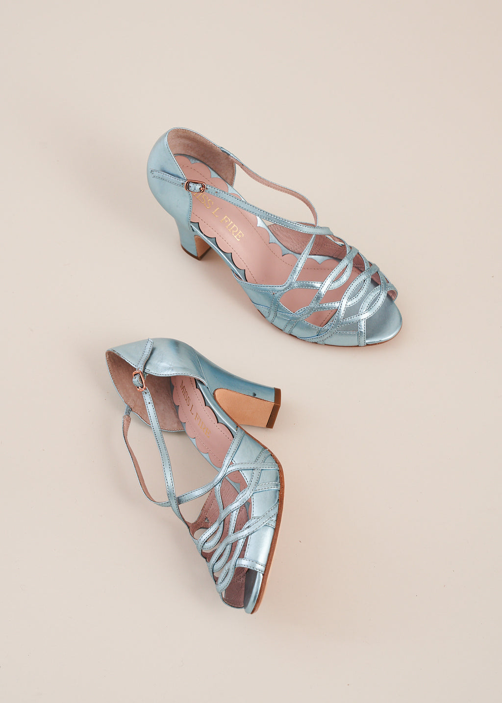 Adele in sky blue metallic leather by Miss L Fire. Strappy, vintage inspired sandal. Limited edition, ethically made.