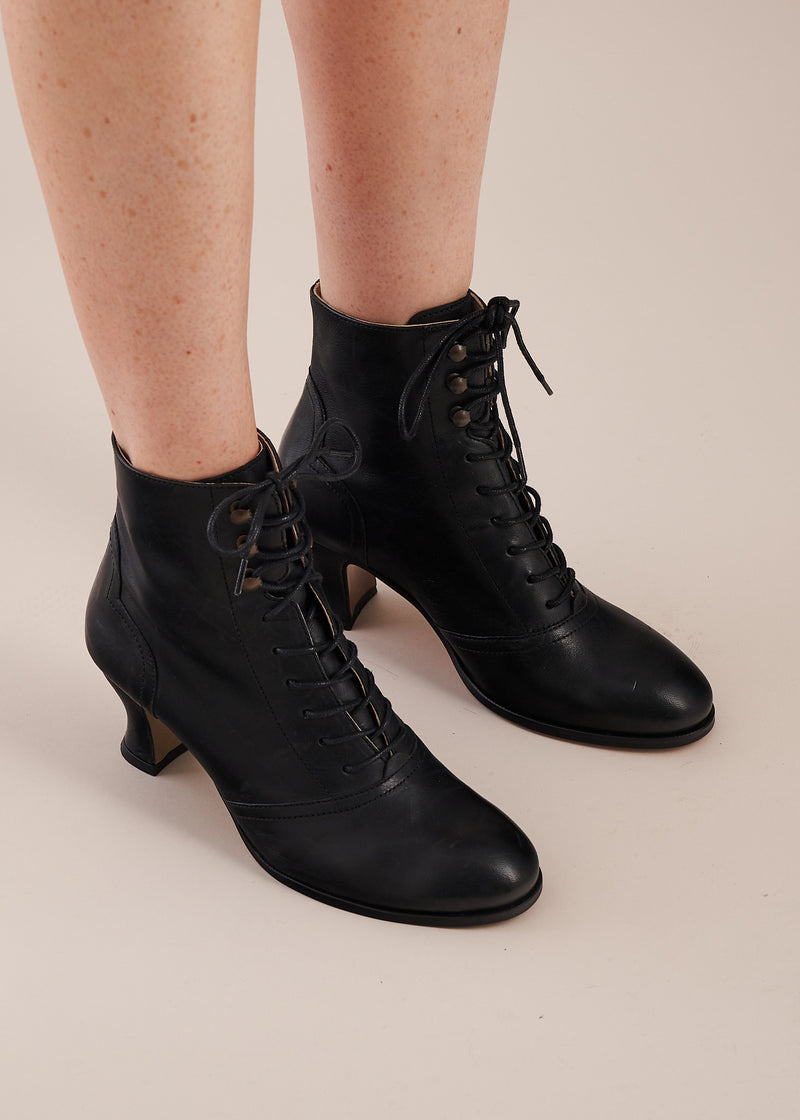 Alexa Black Leather Lace-up Ankle Boots