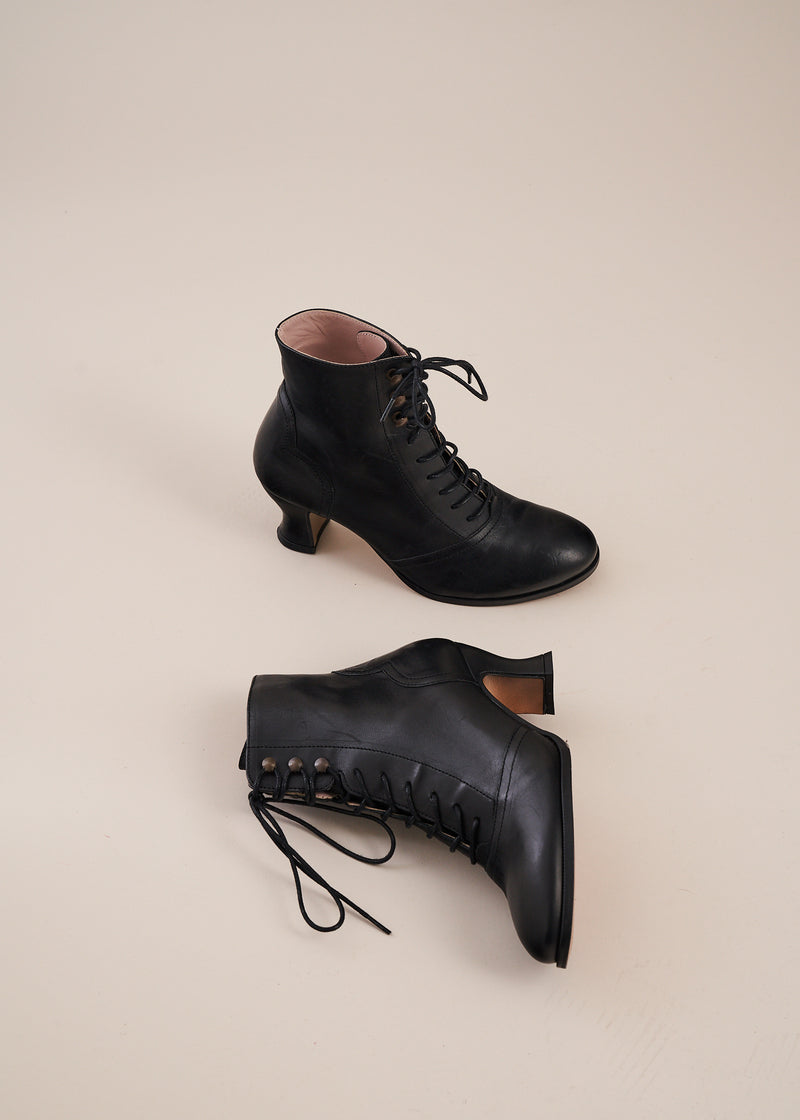 Alexa ski lace heeled ankle boot in black leather by Miss L Fire. Vintage inspired. Ethically made.