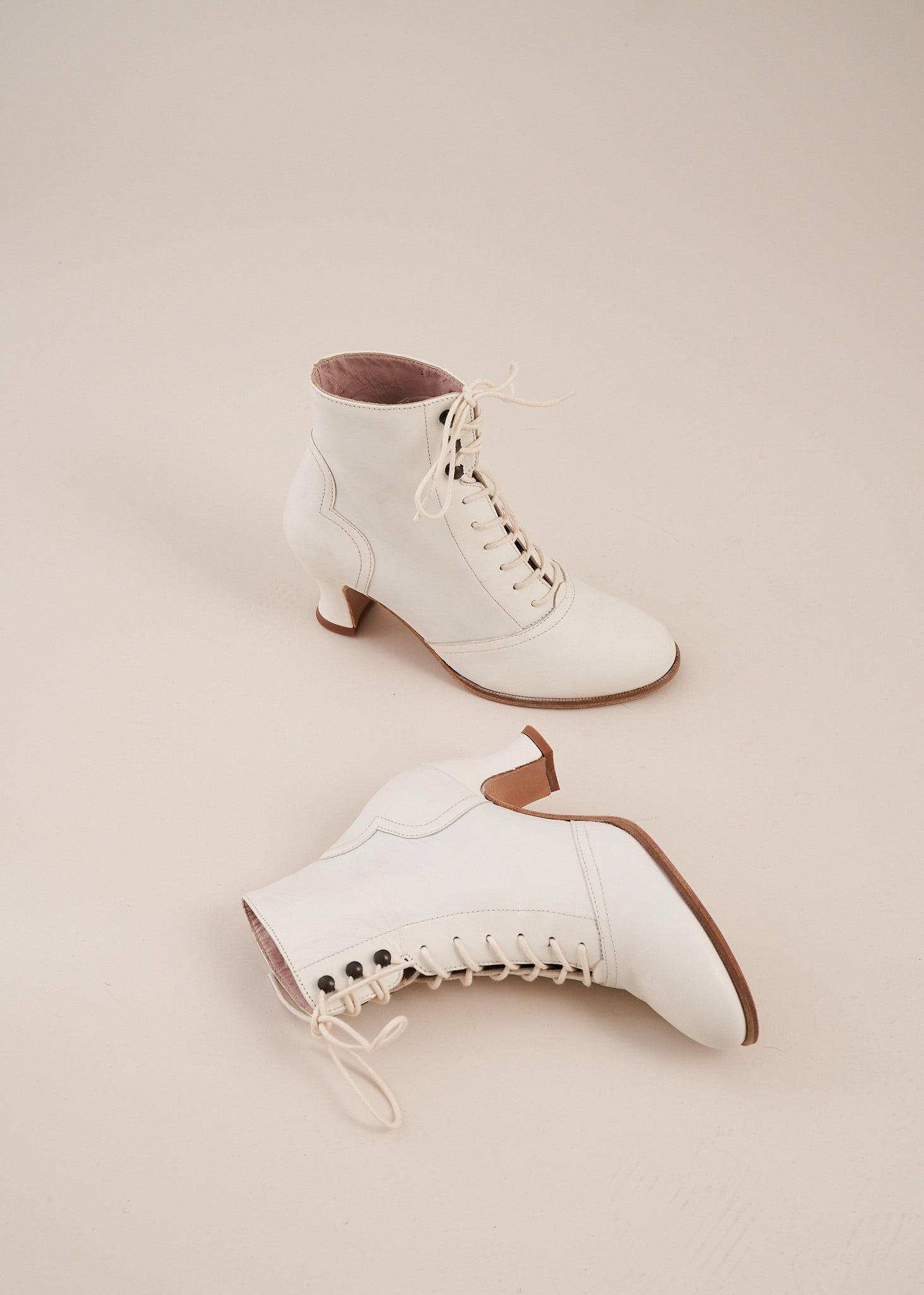 Alexa Cream Leather Lace-up Ankle Boots