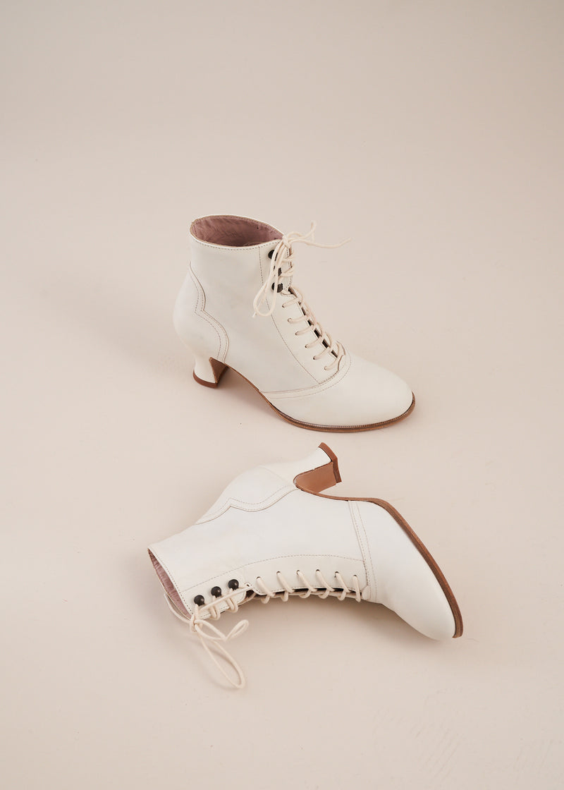 Alexa in Off White leather by Miss L Fire is a ski lace ankle boot with low heel. Vintage Inspired, ethically made in Portugal.