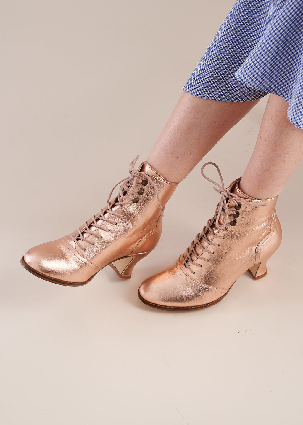 Alexa in rose gold leather by Miss L Fire is a vintage inspired ski lace ankle boot with low heel. Ethically made in Portugal.