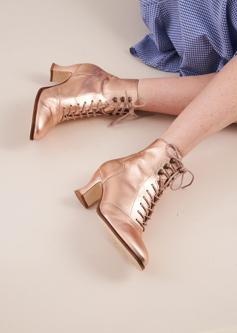 Alexa Rose Gold Metallic Leather Lace-up Ankle Boots - NEW COLOUR