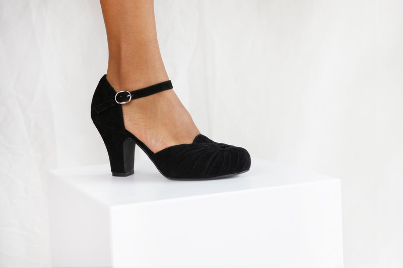 Amber Black Luxe Ankle Strap Heel