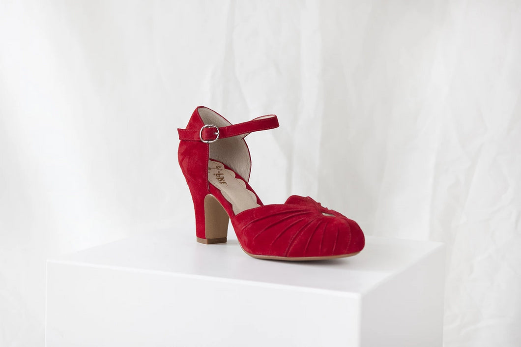 Amber Ruby Red Ankle Strap Heel