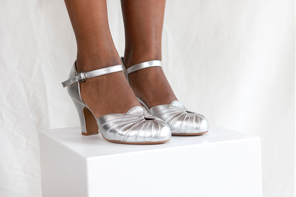 Amber Silver Ankle Strap Heel