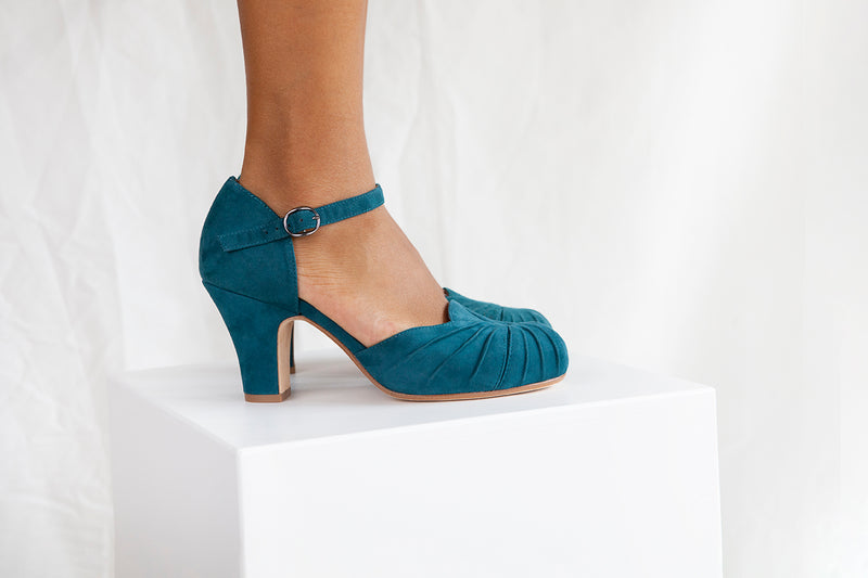 Amber Teal Suede Ankle Strap Heel