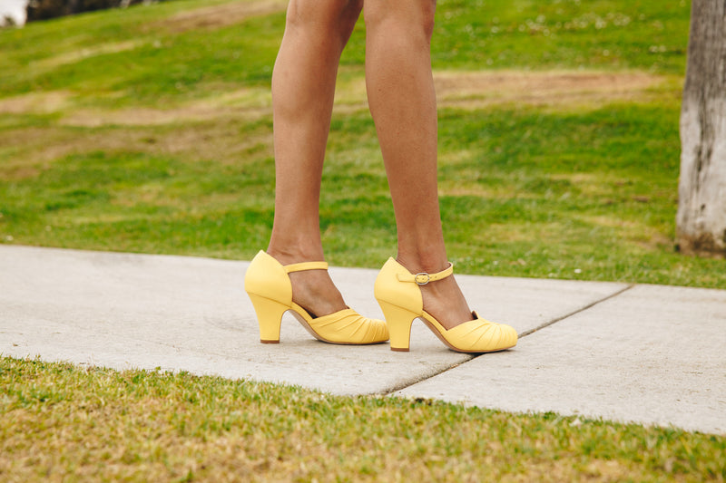 Amber Yellow Luxe Ankle Strap Heel