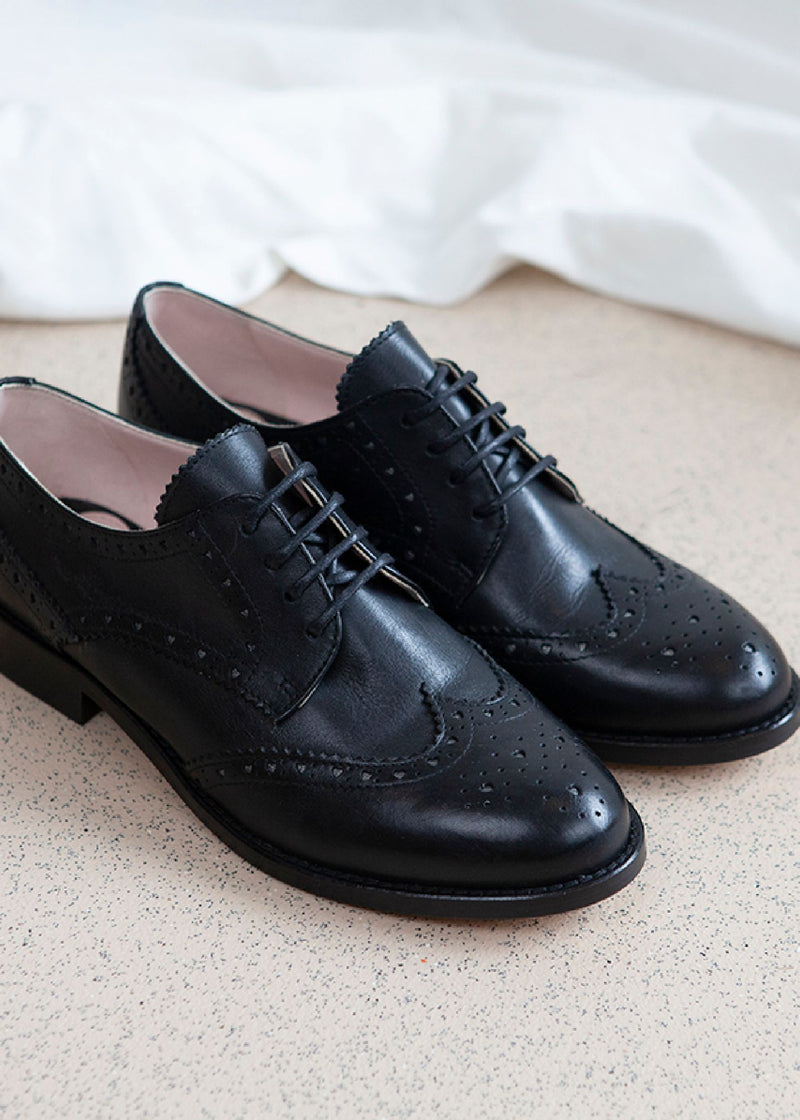 Audrey Black Lace-up Brogue.