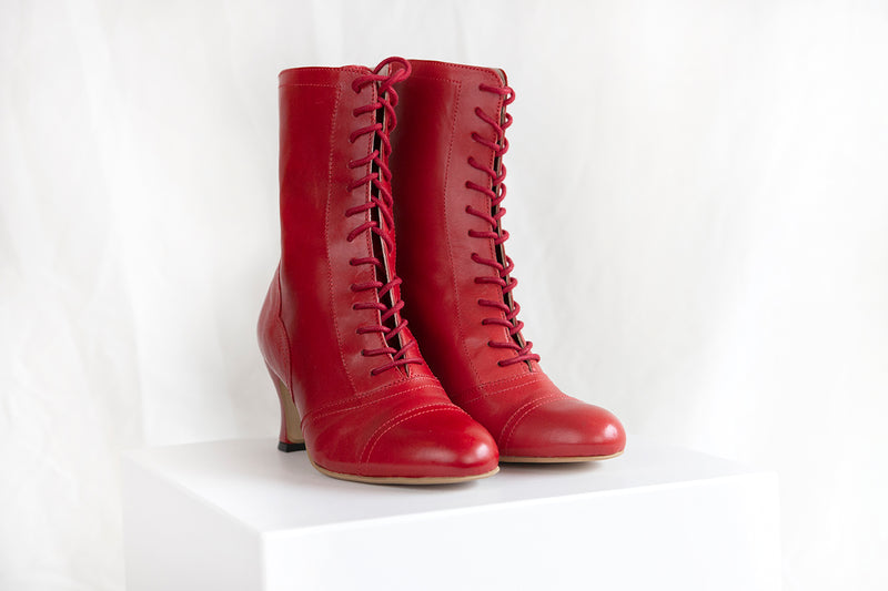 Frida Luxe Red Leather Lace Up Boot