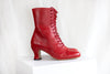 Frida red leather lace up ankle boot with Louis heel by Miss L Fire. Small batch production. Plastic free. Made in Portugal.