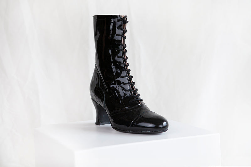 Frida Black Patent Lace Up Boots