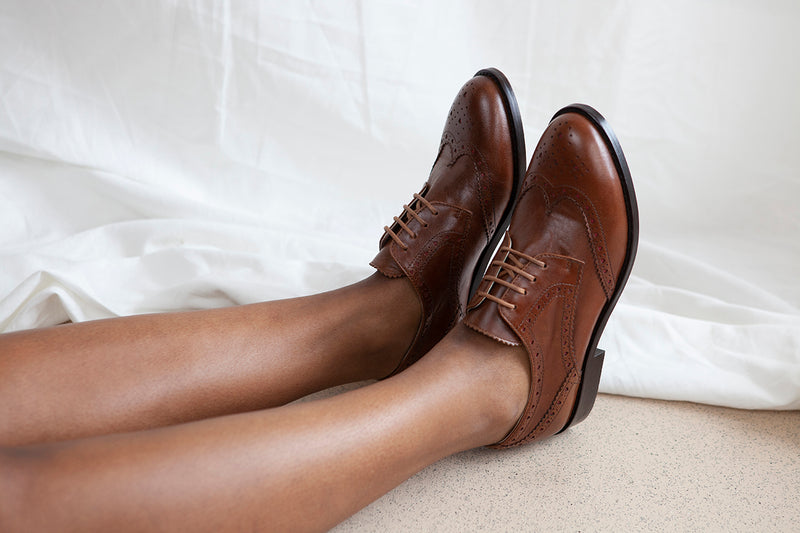 Audrey tan leather ladies brogue lace up by Miss L Fire. Features heart shaped cut outs in contrasting scarlet leather. Made in Portugal by Miss L Fire