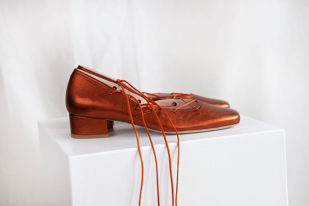 Elinor Rust Metallic Leather Lace-up Ballerina Pump