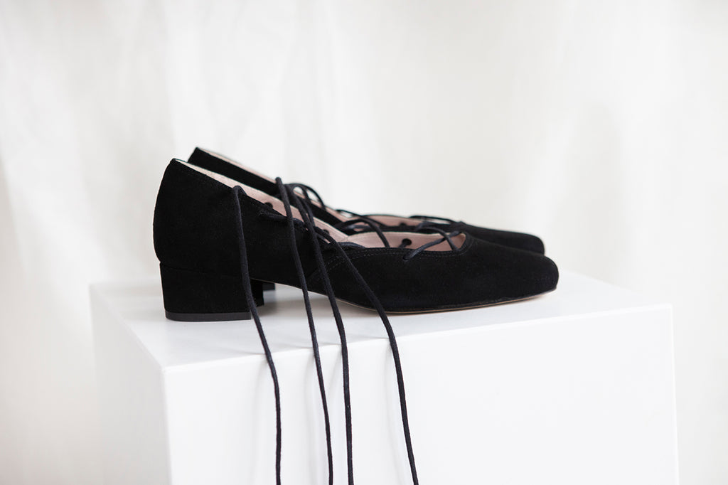 Elinor Black Suede Lace-up Ballerina Pump