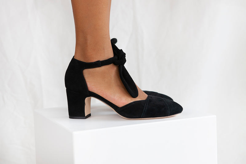 Clarice in black suede is a block heel, closed toe, ankle tie shoe by Miss L Fire. Vintage inspired, ethically made.