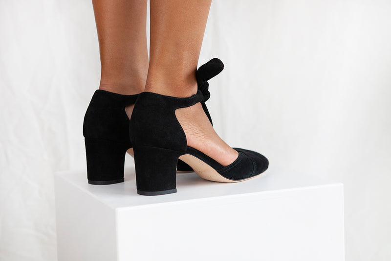 Clarice Black Suede Block Heel Shoe.