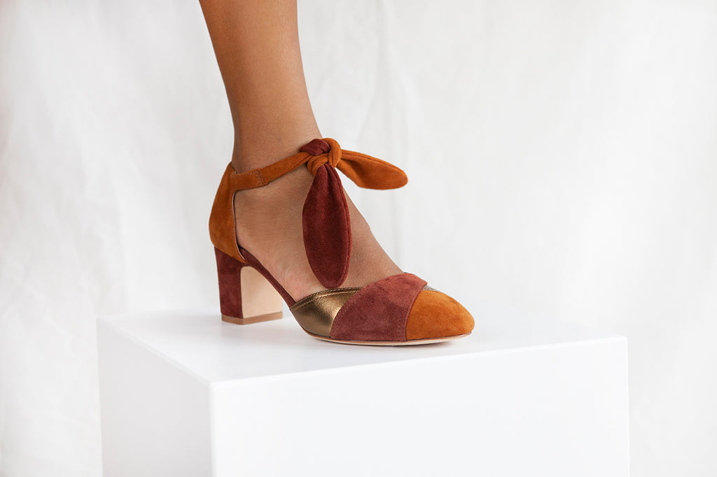 Clarice Tan Colour Block Suede heel