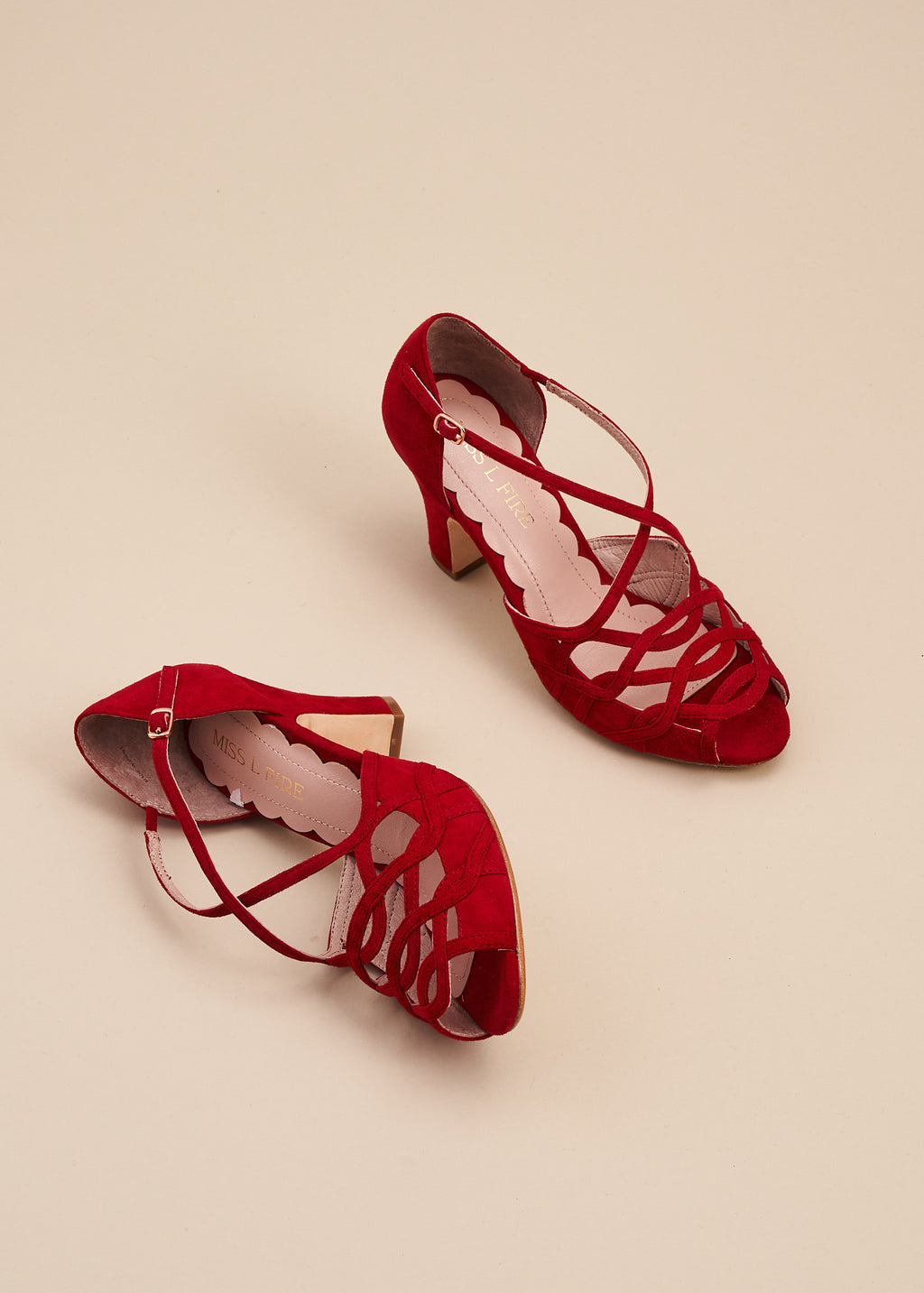 Adele ruby red soft suede strappy vintage inspired sandal with peep toe and closed back. All leather upper, lining and outsole, by Designer Miss L Fire.