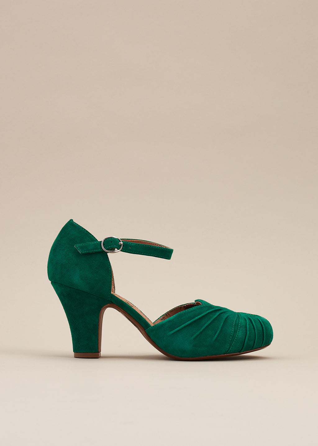 Amber Green Ankle Strap Heel