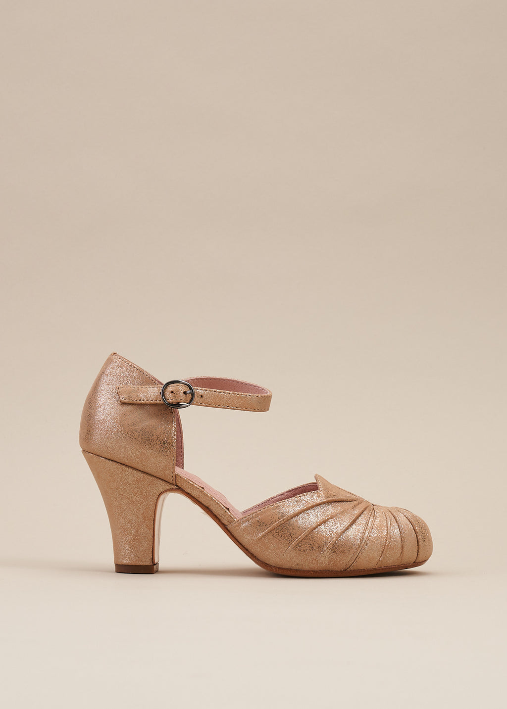 Amber Taupe Ankle Strap Heel