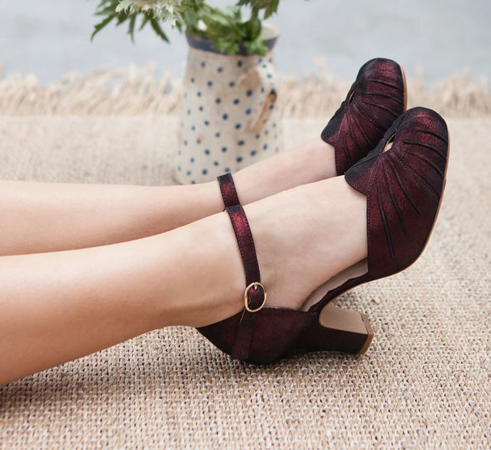 Amber burgundy glitter suede heels with vintage style details, by Miss L Fire