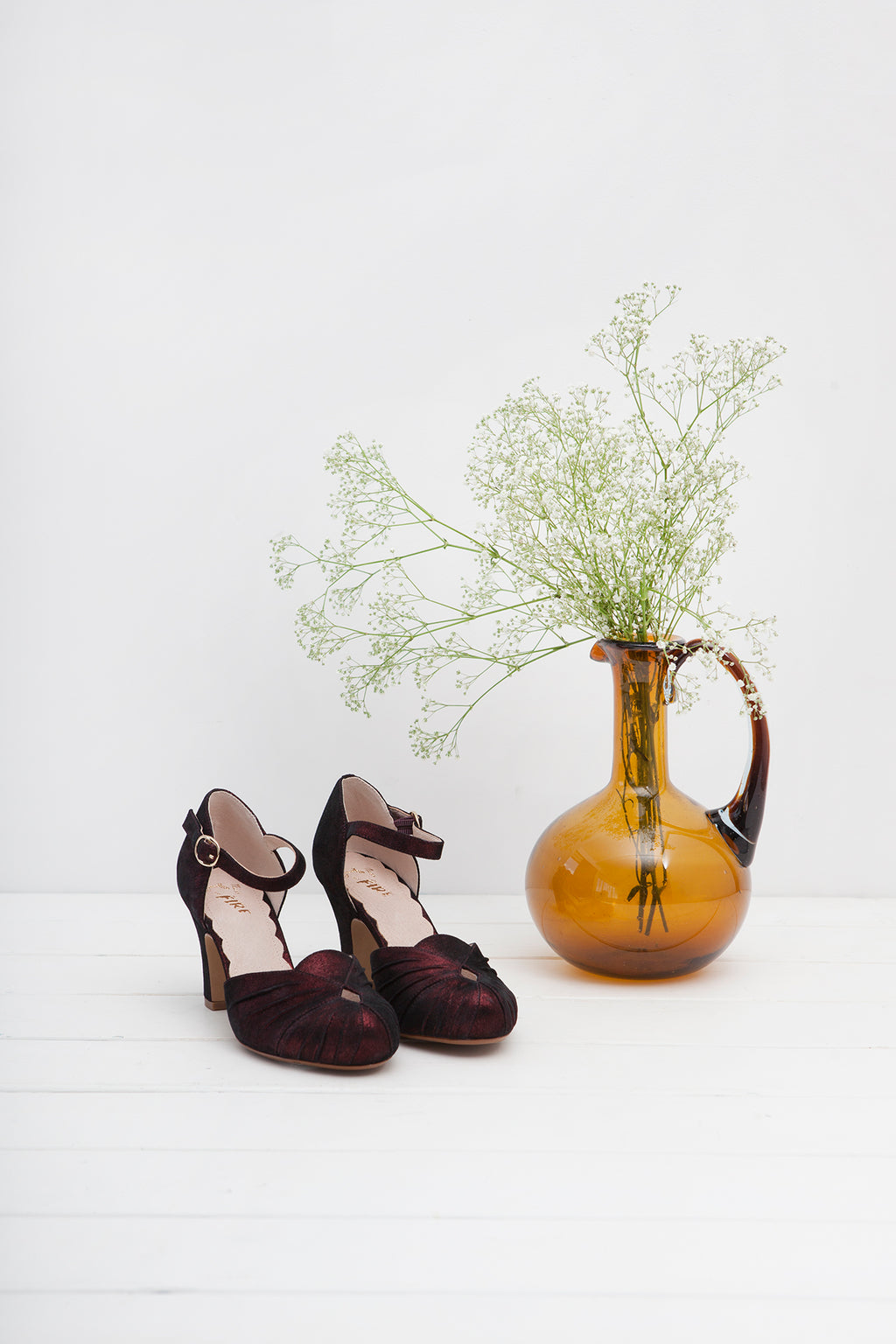 Amber Burgundy Sparkle Ankle Strap Heel - LAST REMAINING PAIRS
