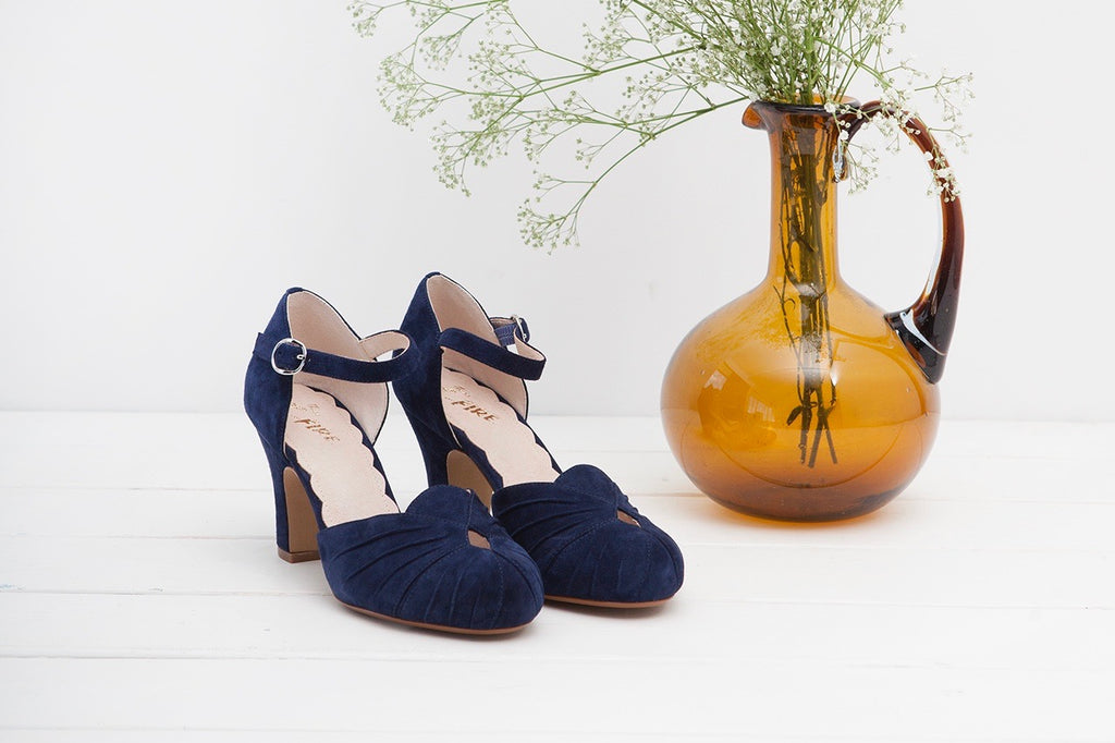 Amber Navy Ankle Strap Heel