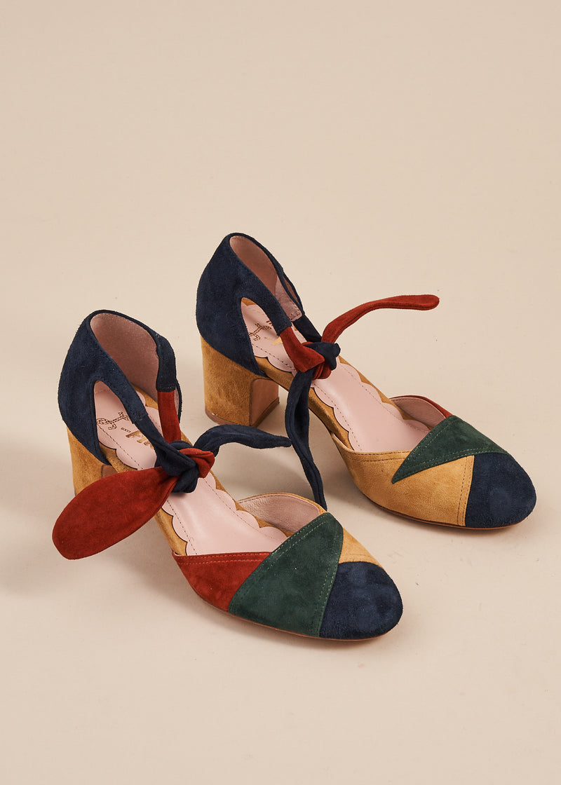 Clarice Multi Jewel Tone Suede Block Heel Shoe.