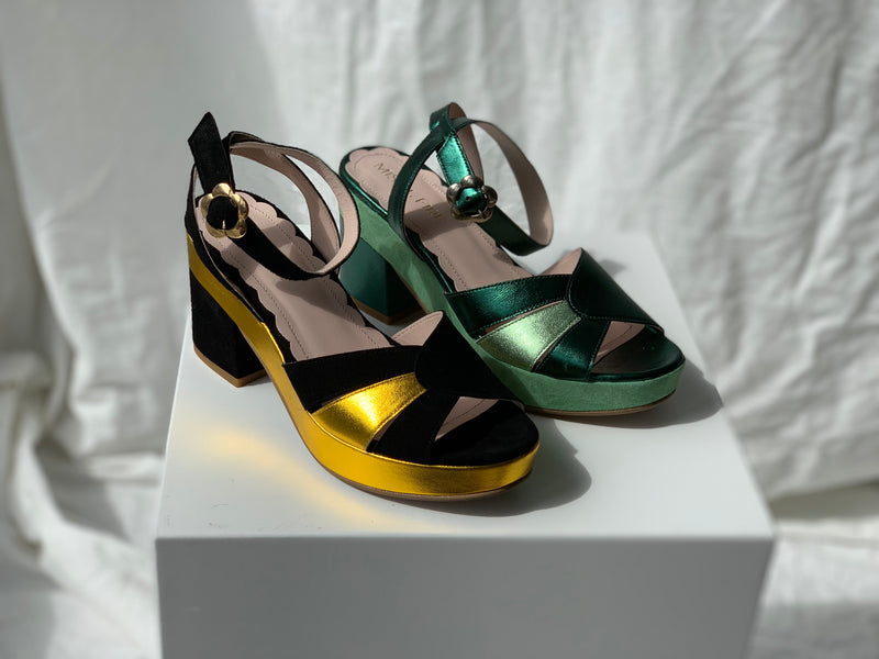 Cora Black Suede and Gold Leather Sunburst Wedge Sandal