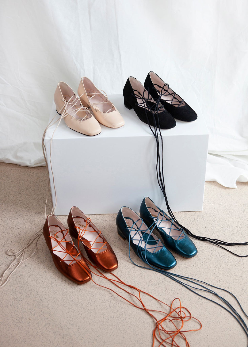 Elinor Nude Pink Leather Lace-Up Ballerina Pump - LAST REMAINING PAIRS