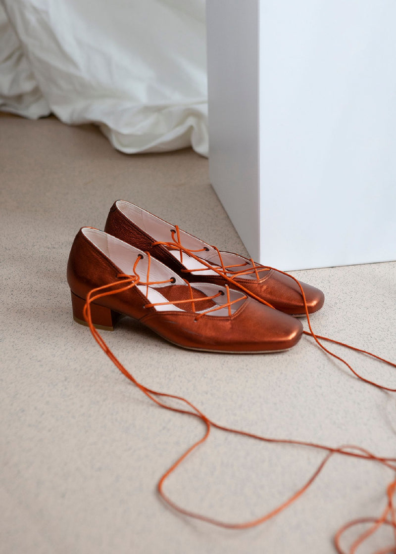 Elinor Rust Metallic Leather Lace-up Ballerina Pump - LAST REMAINING PAIRS