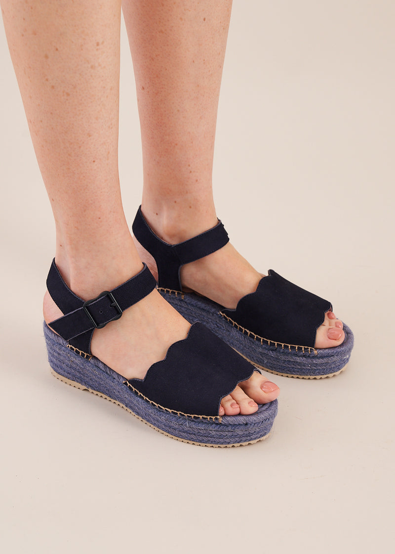 Esther Navy nubuck leather espadrille flatform wedge by Miss L Fire. Limited edition.