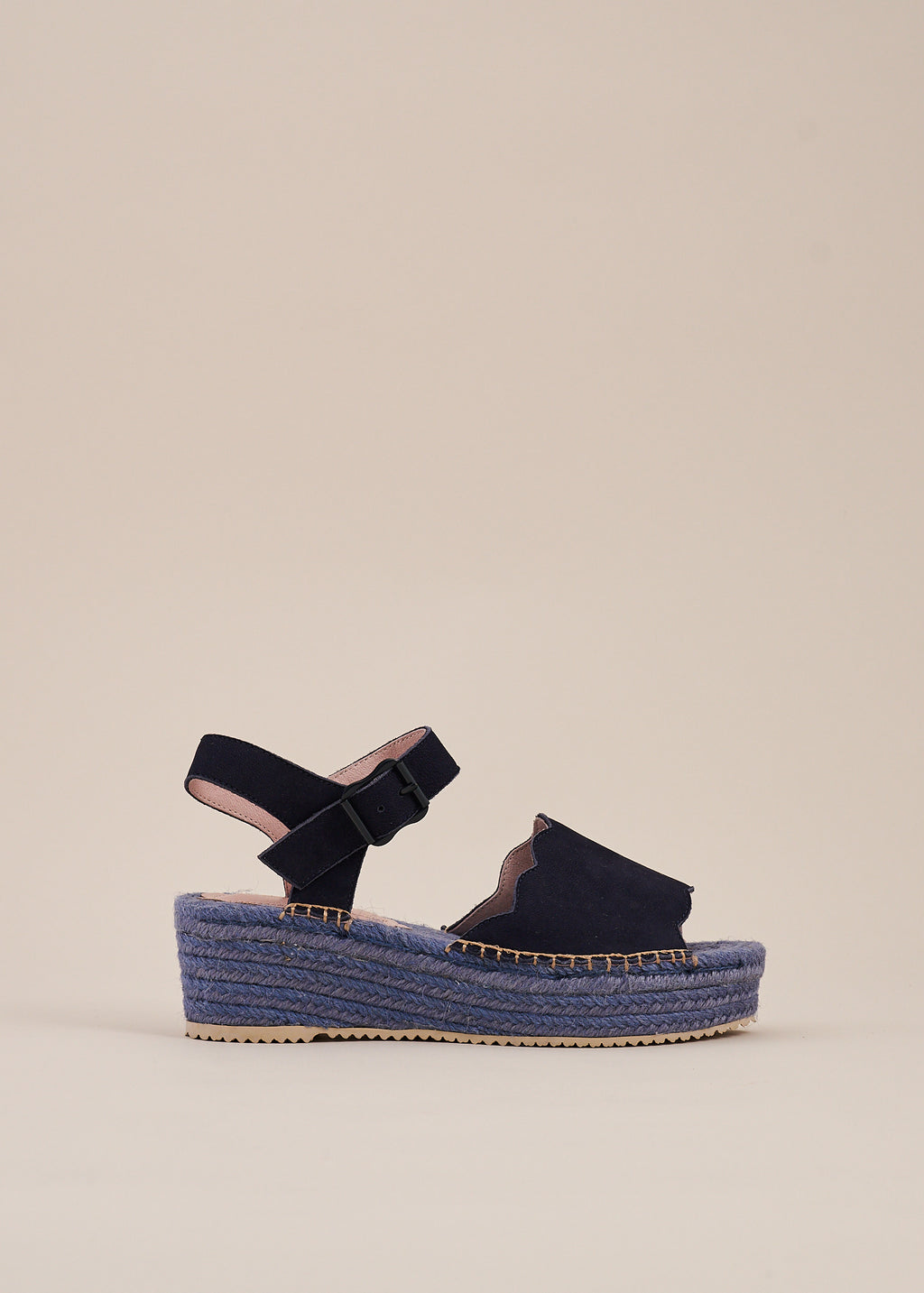 Esther Navy Nubuck Flatform Espadrille Wedge