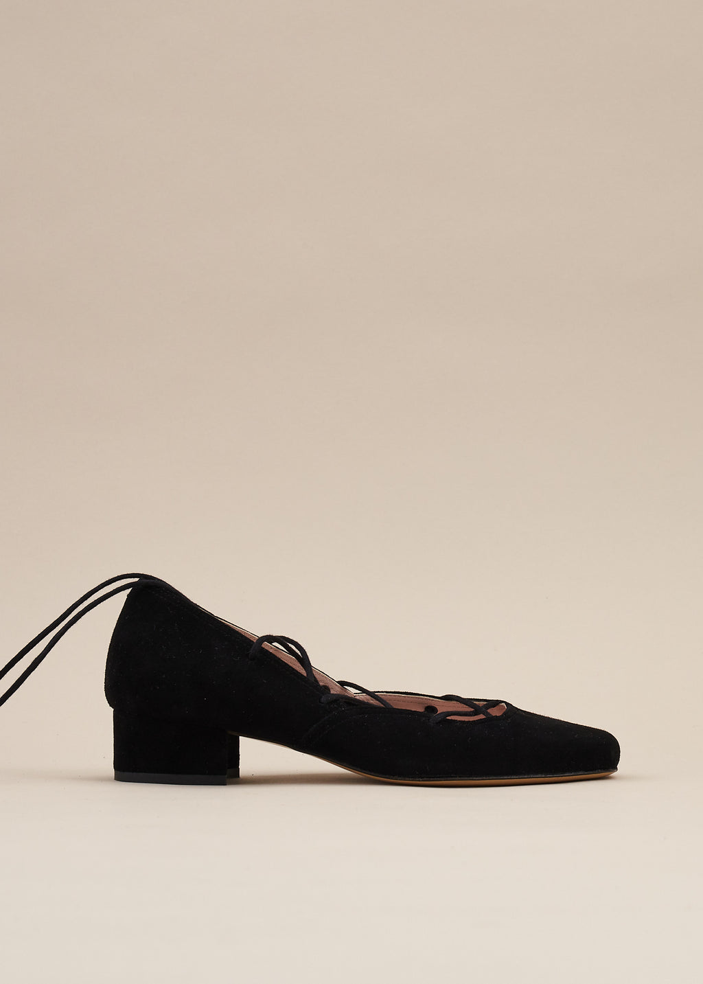 Elinor Black Suede Lace-up Ballerina Pump - LAST REMAINING PAIRS