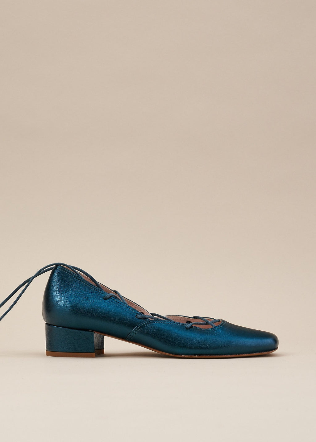 Elinor Teal Metallic Leather Lace-up Ballerina Pump - LAST PAIRS