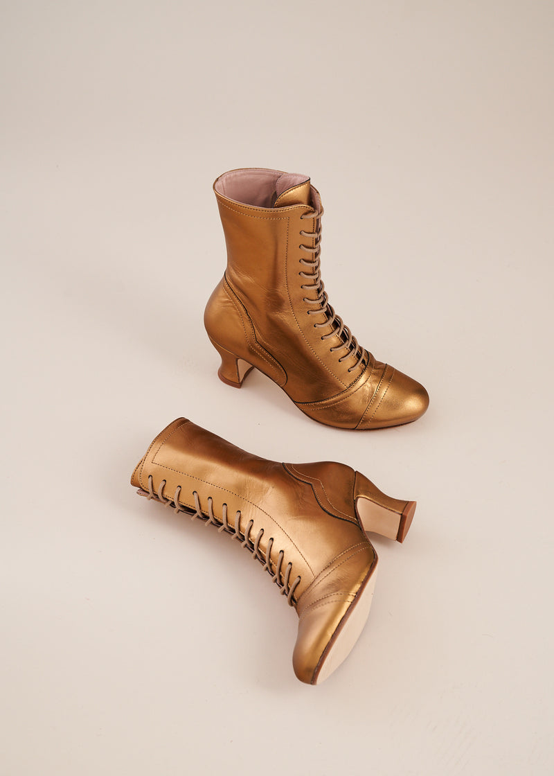 Frida Bronze Lace Up Boots