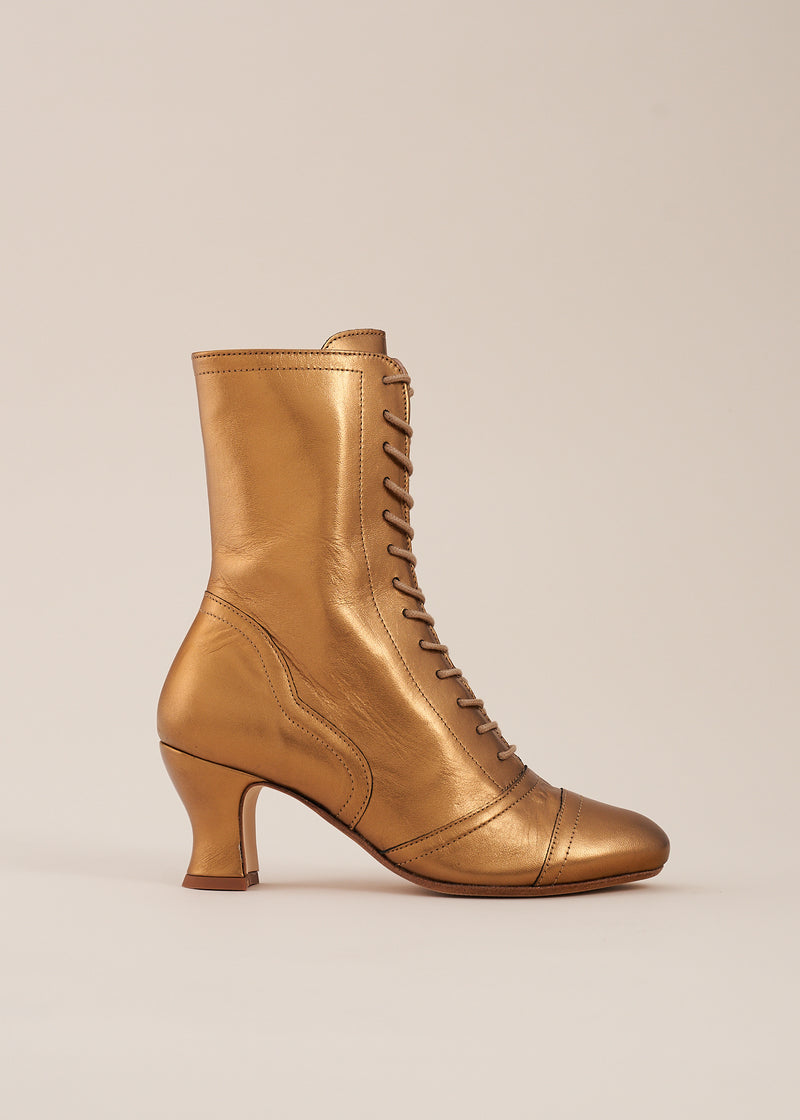 Frida Luxe Bronze Leather Lace Up Boot - LAST PAIRS