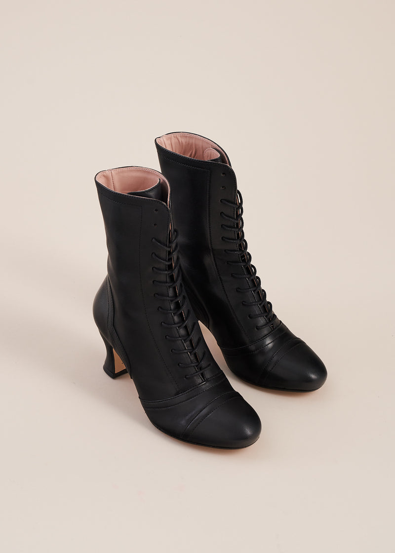 Frida Luxe Black Lace up Boots