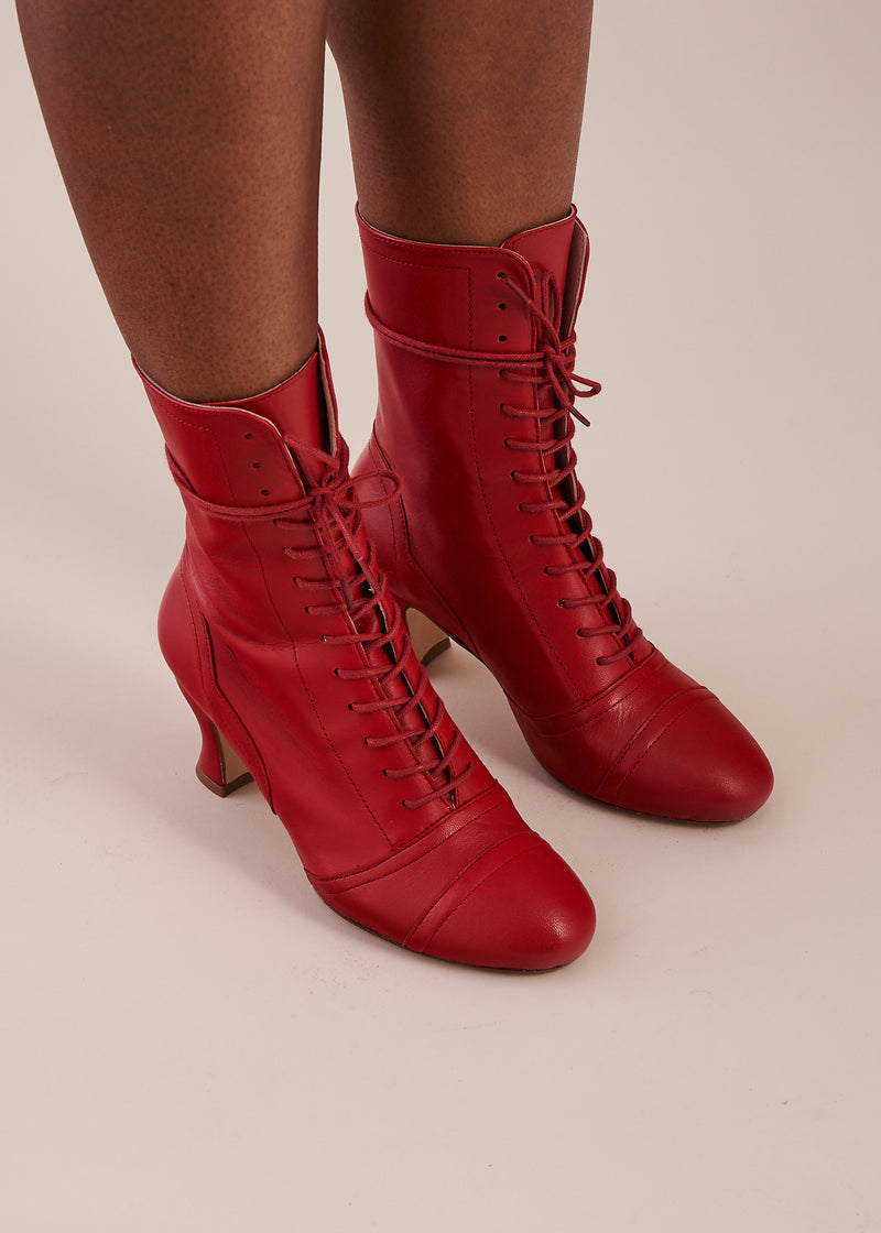 Frida Luxe Red Leather Lace Up Boot - LAST REMAINING PAIRS
