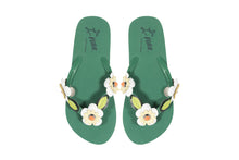 Felippe green flip flops. Perfect beach holiday shoes by Miss L Fire