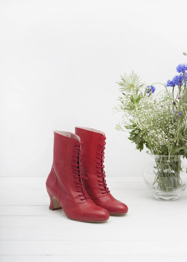 Frida Red Lace up Boots - LAST PAIRS
