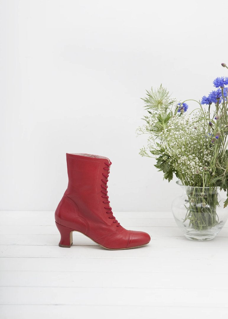 Frida Red Lace up Boots