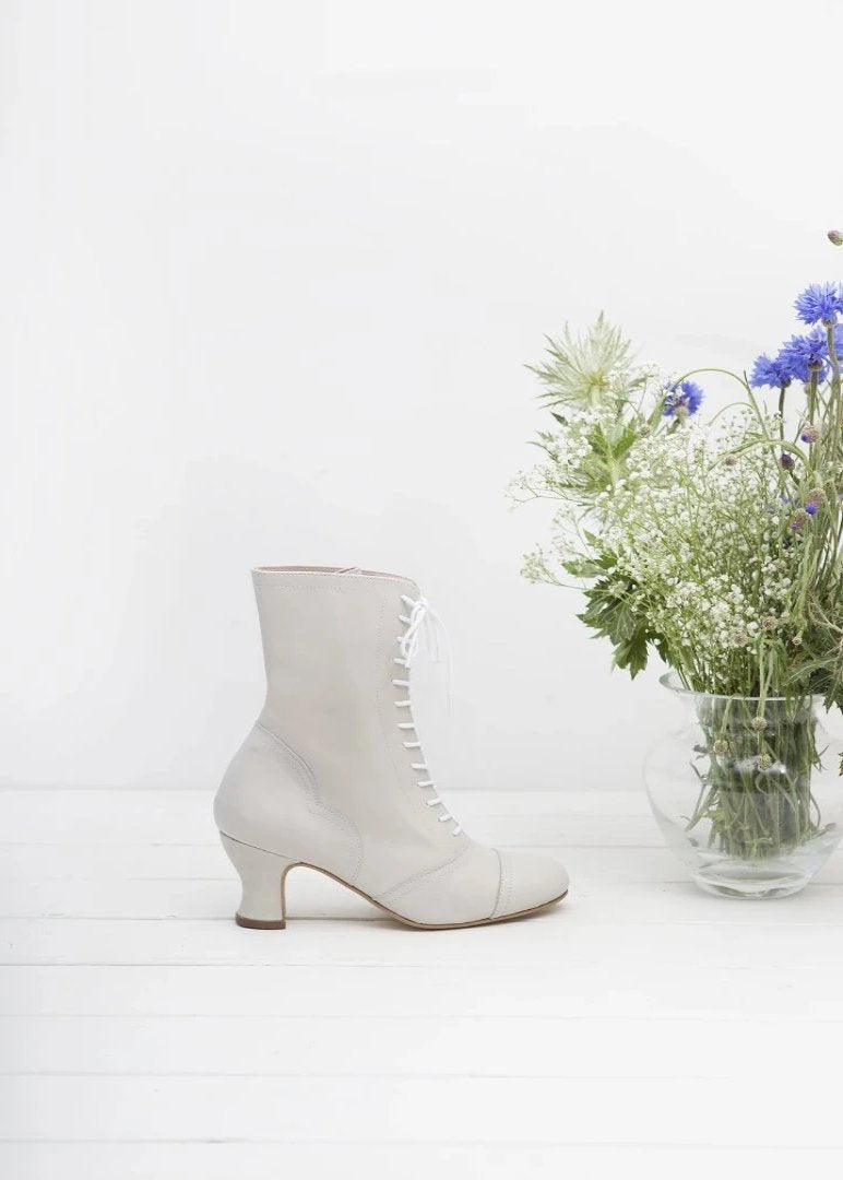 Frida Off White Lace Up Boots - LAST REMAINING PAIRS