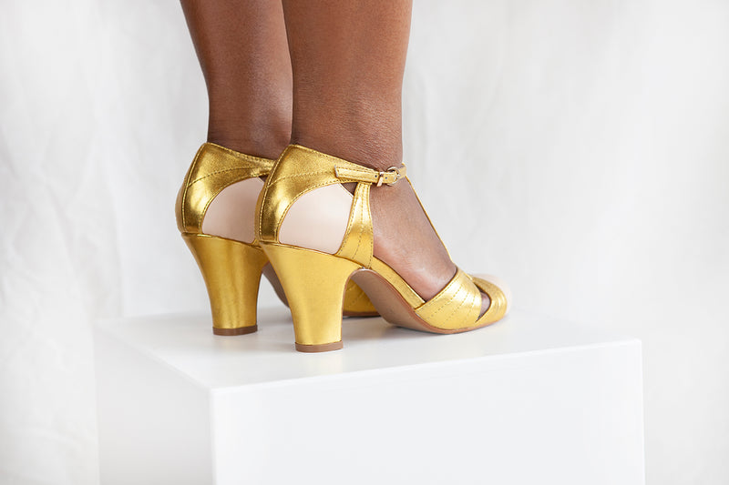 Hepworth Nude and Gold T-Bar Heel