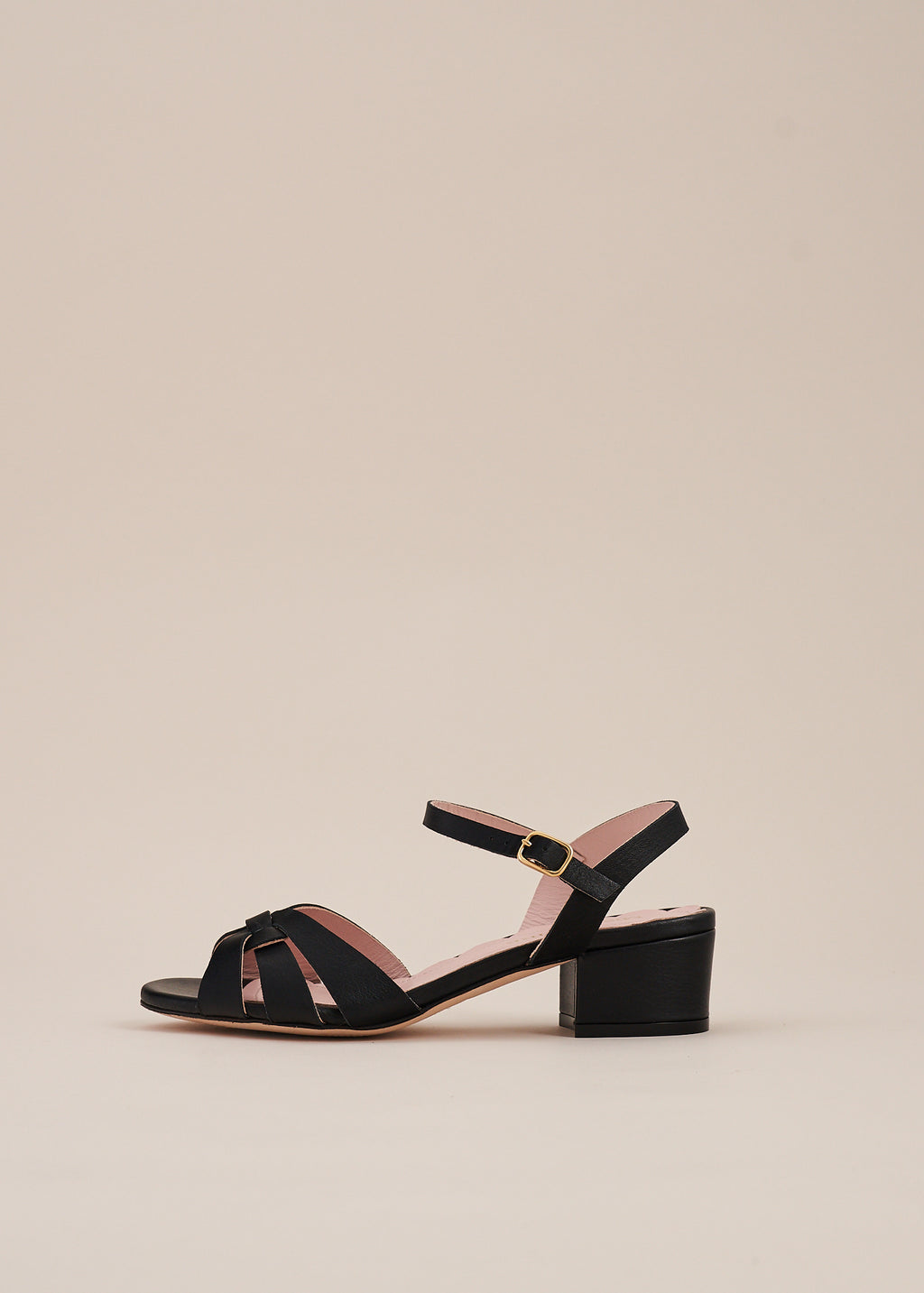 Isla 2 Black Interlaced Leather Low Heel Sandal