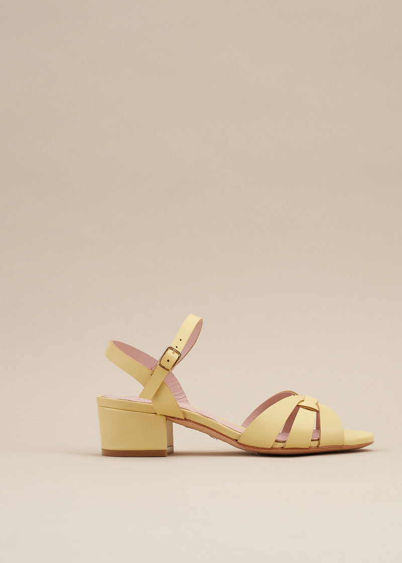 Isla 2 Lemon Interlaced Leather Low Heel Sandal