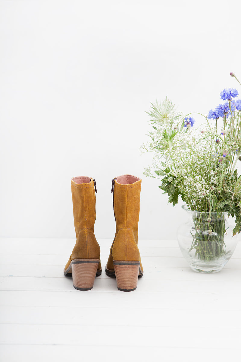 Jane Mustard side zip ankle boots.